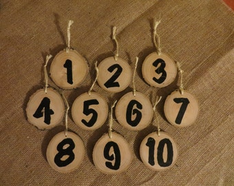 Painted Wood Branch Table Numbers, Ornament Style