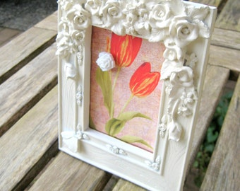 Vintage ceramic and resin frame with dimensional roses, magnetic insert, cabochon magnet decoupaged floral image