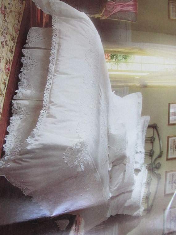 Vintage White Battenburg Lace Twin Duvet Cover Pillow Sham