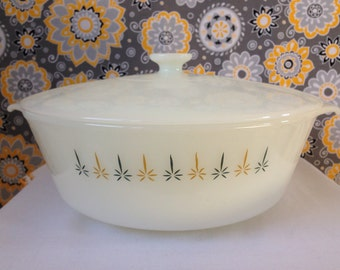 Fire King, Candleglow Covered Casserole Dish, 3 Qt., 1960's