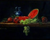 "Fine Art 8  X 10 Print of my Original Oil Painting ""Watermelon & Plums"""