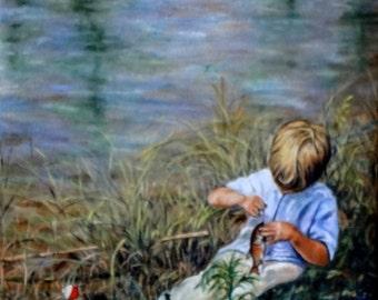 "Fine Art 8 X 8  Print of my Original Oil Painting ""The Catch"""