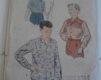 Vintage Advance  Boys Shirt Pattern Size 6-8  ECS