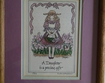 "Hand Drawn Framed Daughter Sentiment ""A Daughter Is A Precious Gift"""