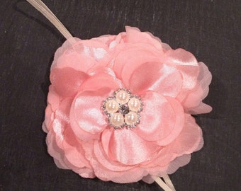 Sparkle Flower Headband - Baby Pink