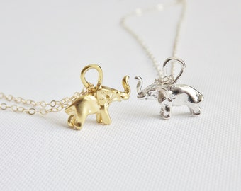 Gold Elephant Necklace - Tiny Gold Elephant - Gold Vermeil - Gold filled