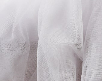White Soft Tulle Veiling Fabric 150cm wide -  Sold by the metre UK SELLER