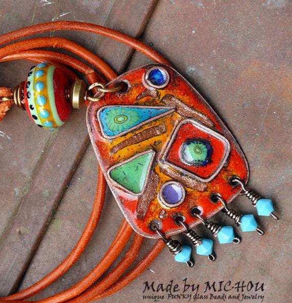 Art Nouveau Hippie Artisan Copper Enamel Art Necklace