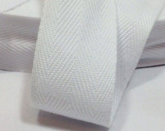 Cotton Twill Tape 50 yards 1 inch White Wholesale Herringbone Straps Binding