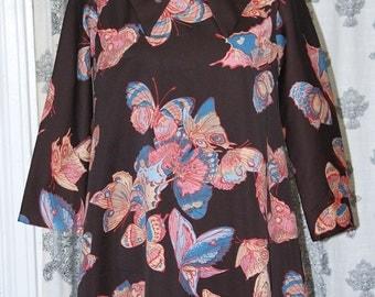 70's Brown Butterfly Swing Dress Small / Medium