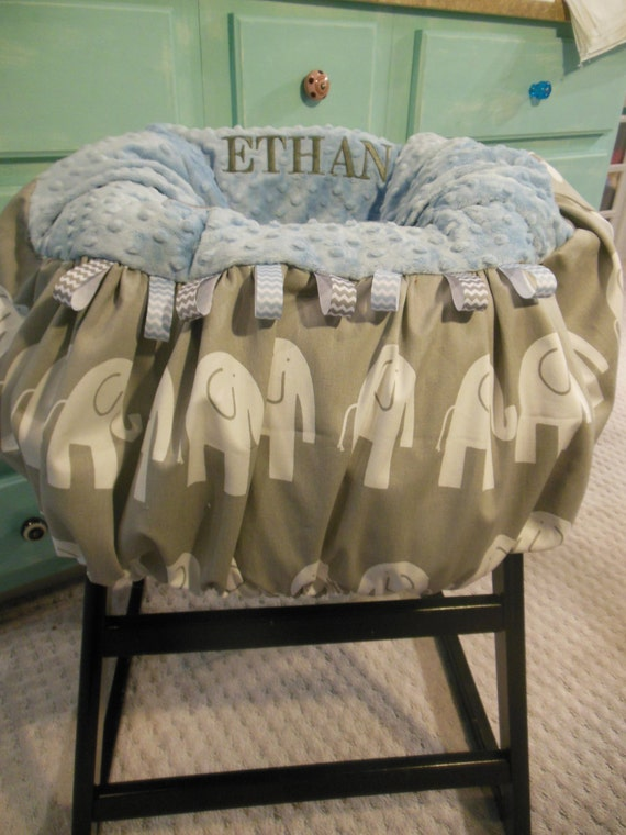 baby blue and gray elephant shopping cart high chair cover. Black Bedroom Furniture Sets. Home Design Ideas