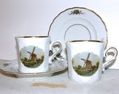 Vintage 1980s Holland, Pair of Royal Schwabap Teacup Souvenir, Windmill Porcelain Cup and Saucer, Dematisse Teacups
