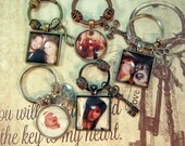 Father's Day Key Ring Custom Photo with Charm Personalized for Couples Grandparents Pets Best Friends KeyChain Gift