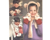 1980s Childrens Hat Pattern Simplicity 6669, Plush Teddy Bear Face Novelty Scarf, Mittens, Earmuffs, 1984 Vintage Sewing Pattern Uncut