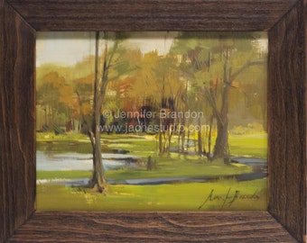 Hillside Park Landscape - Plein Air Oil Painting by Jennifer Hamby-Brandon