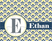 Yellow & Blue Chevron With Name and Initial Personalized Jigsaw Puzzle - 12 or 100 pieces