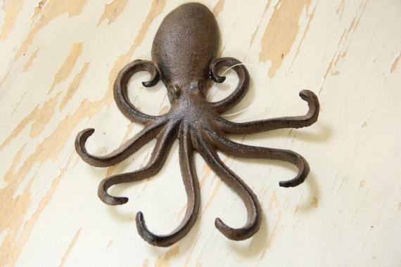 Nwt cast iron nautical octopus hook coat hanger beach sealife - Coat hook octopus ...