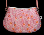Bee & pink handbag, Unique, one of a kind bag, honeycomb bee pattern material, lace zip, pink leather strap, orange lining, key clip