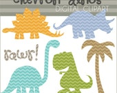 Dinosaur Clip Art Chevron Dinos -Personal and Limited Commercial Use- Dino Clipart - Instant Download