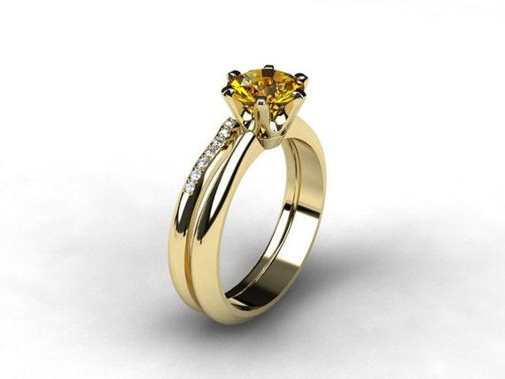 Engagement Ring Set Citrine Ring Engagement By TorkkeliJewellery