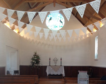 White Wedding bunting, fabric bunting with beautiful lace effect, romantic venue decoration