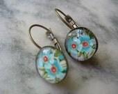 Blue Flower Cabochon Leverback Earrings, Antique Brass, French Earwire, Floral Earring, Flower Earring, Floral Jewelry, Blue Flower Earring