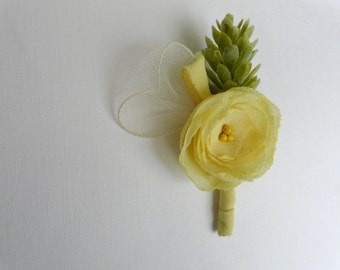 Yellow Boutonniere, Yellow Wedding Boutonniere, Yellow Lapel Flower, Yellow Lapel Pin, Cone Boutonniere