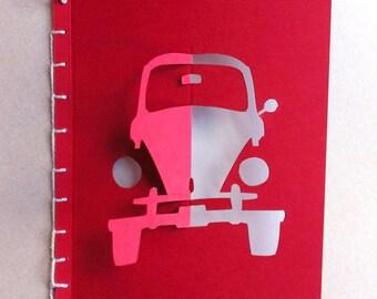 Red VW Beetle Card