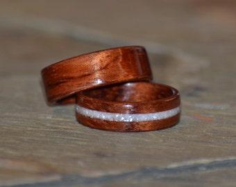Handcrafted Bubinga Bentwood Wedding Band Set Anniversary Ring