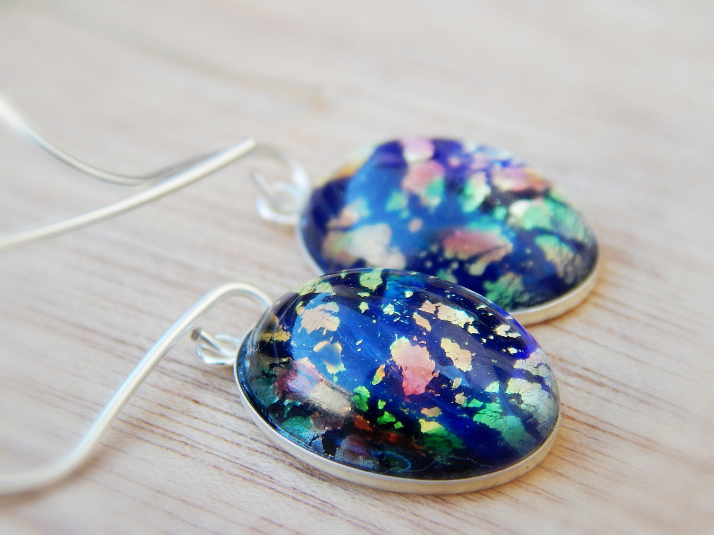 Black Fire Opal earrings opal jewelry glass opal dangle
