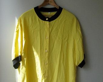 Vintage Yellow and Black Ribbed Hem Oversized Blouse
