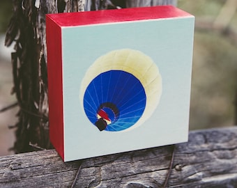 Hot Air Balloon Photograph, Photo wood block, mounted photograph, gift for a child, bright, red, yellow, blue