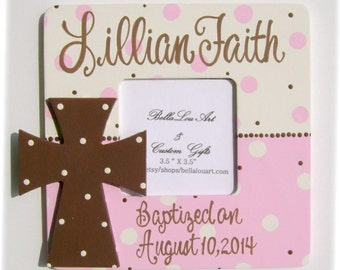 Hand painted personalized girls cross pink baptism picture frame