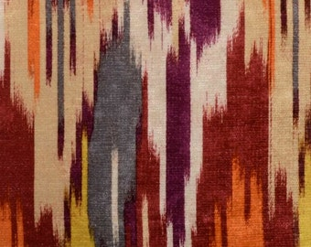 Red Grey Velvet Upholstery Fabric - Abstract Purple Fabric for Furniture Upholstery - Modern Orange Grey Material for Padded Headboards