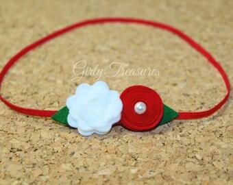 Red Christmas Baby Headband. Baby Headband. Girl Headband. Newborn Headband. Infant Flower Headband.