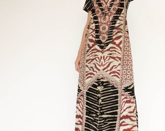 NO.139 Black, Cream and Red Cotton Jersey Geometric Tie Dye Printed Day Dress