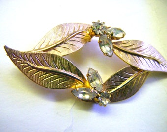 Gold and Rhinestones Leaves Pin or Brooch