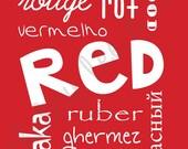 Children's Printable RED color wall art,  nursery playroom decor
