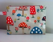 Mini nappy clutch/pouch made in Cath Kidston Mushroom oilcloth, toadstool colourful girly