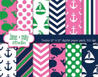 digital scrapbook papers - navy, pink and green nautical / whale patterns - INSTANT DOWNLOAD
