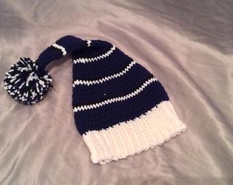 Child Striped Crochet Night Cap with Pom Pom