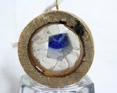 Small hemlock round, filled with natural white sea glass and blue patterned ceramic from Martha's Vineyard
