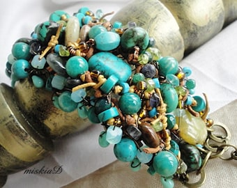 Statement Bracelet Turquoise Braided Bracelet Leather Cuff Bracelet Green Layered Bracelet Color Healing