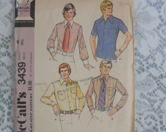 McCalls  Pattern Mens 1970s Sport and Dress Shirt Short & Long Sleeves Chest 42 Vintage pattern