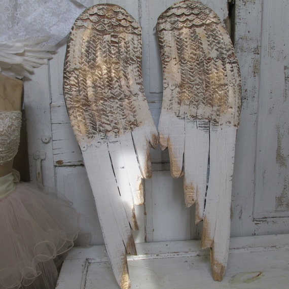 Large Angel Wings Wall Hanging Custom White Gold And Rusty