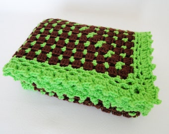 Crochet Baby Blanket Afghan Lime Green Brown - Newborn Baby Boy/Girl, Crib Bedding, Baby Shower Gift, Baby Doll Blanket, Baby Granny