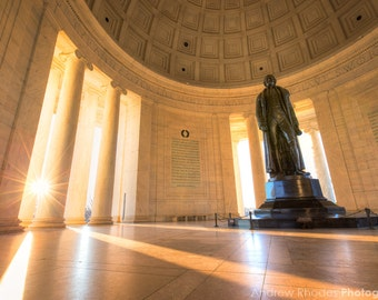 Jefferson Memorial Sunrise Photo - Washington DC Print - Monument at Sunrise, Gold Light, United States, Founding Father, Thomas Jefferson