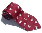 Vintage 1970s Red and White Zodiac Polyester Tie by Haband