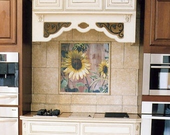 tile mural sunflower red barn design kitchen backsplash decorative tile for bathrooms. beautiful ideas. Home Design Ideas