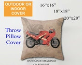 Throw Pillow for bikers, OUTDOR or INDOOR cover | Triumph Daytona 1000 1992 collage | Does not include pillow insert.